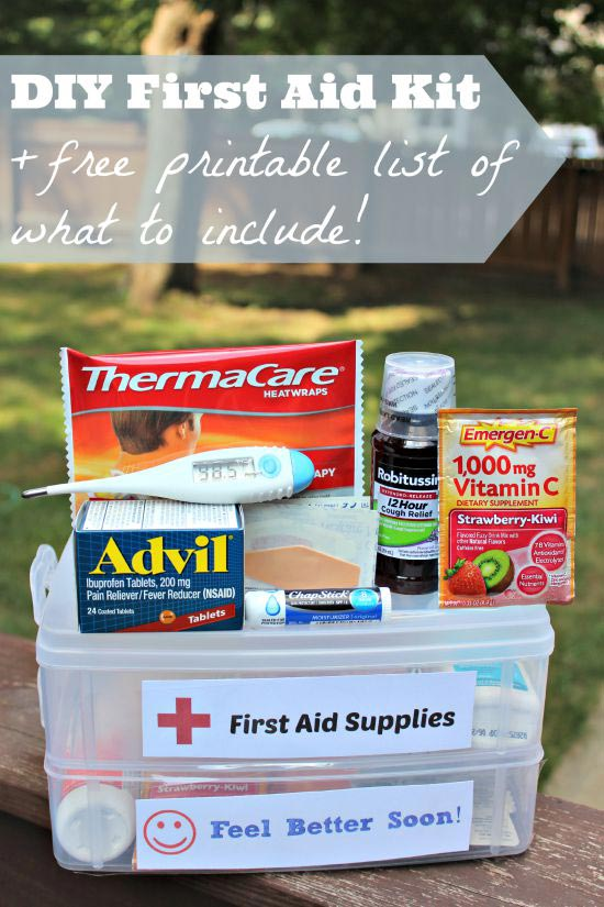 Supply list for DIY First Aid Kit with free printable