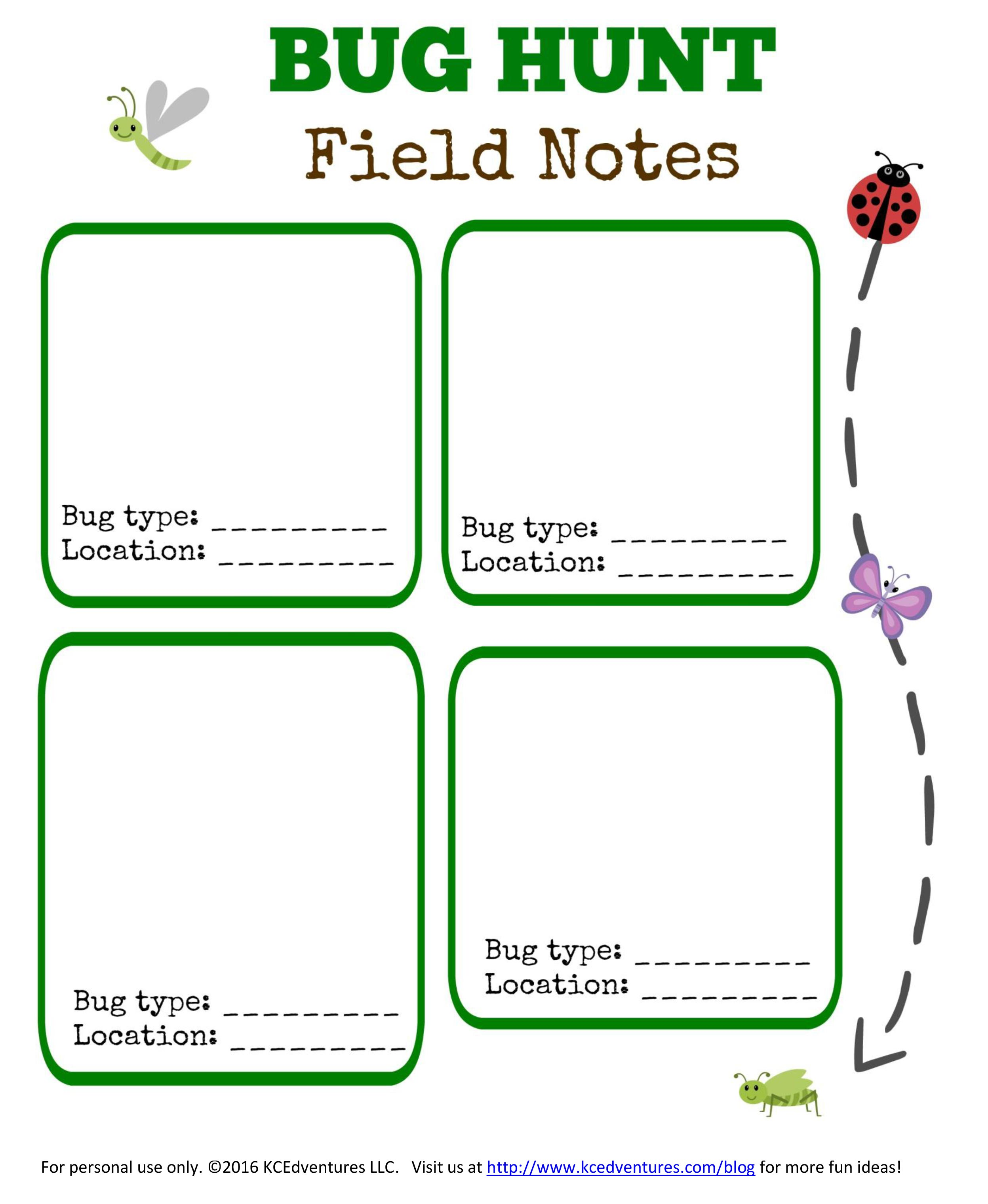 Free printable Bug Hunt for kids