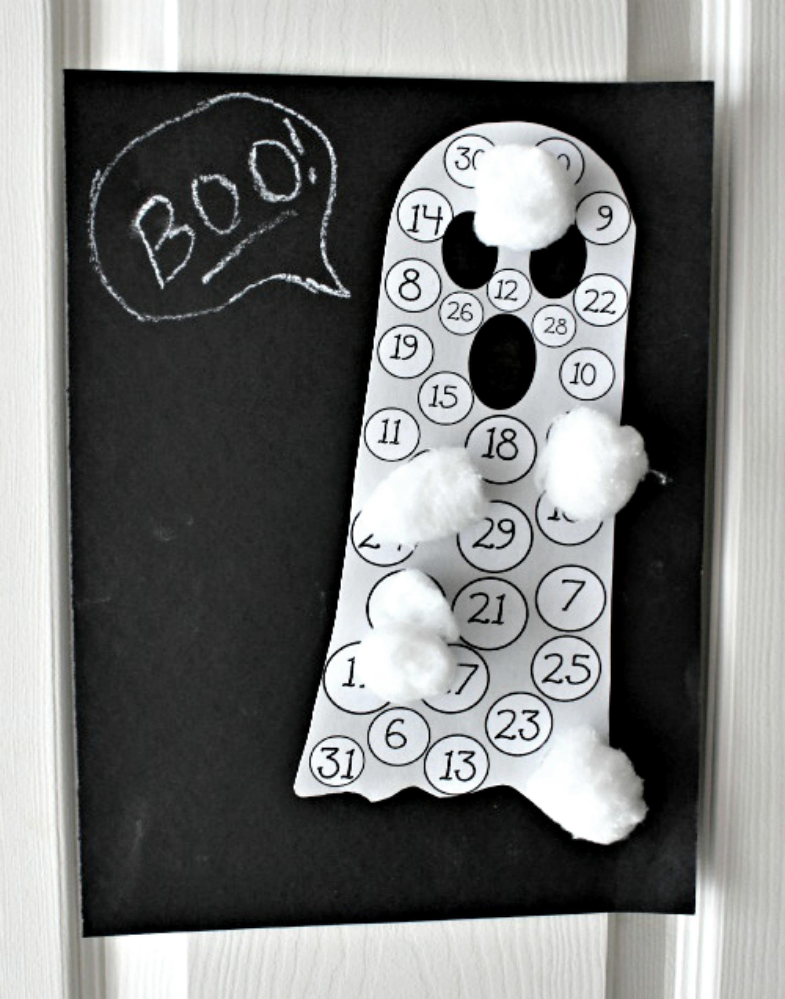 halloween countdown ghost number chart