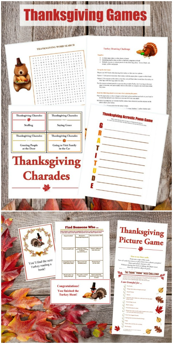 Thanksgiving games for kids and adults - word games, scavenger hunt and more!