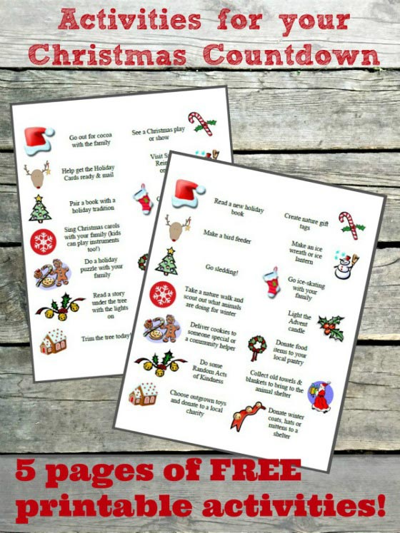 free advent calendar activities