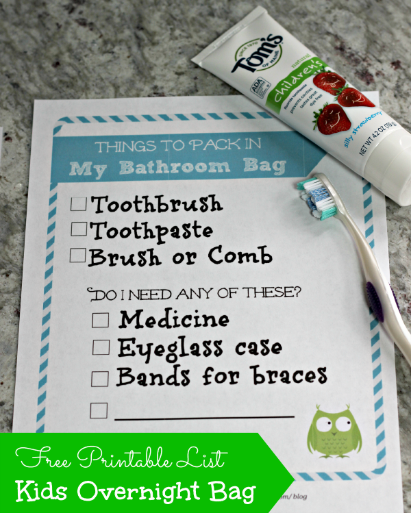 Items to put in a child's overnight bag