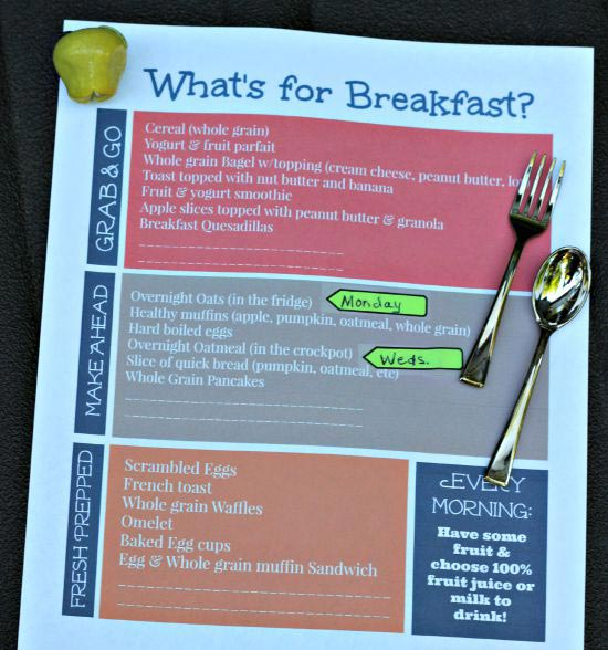 Get organized with a weekly Breakfast Planner