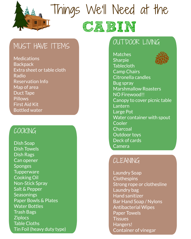 Cabin Packing List W Free Printable