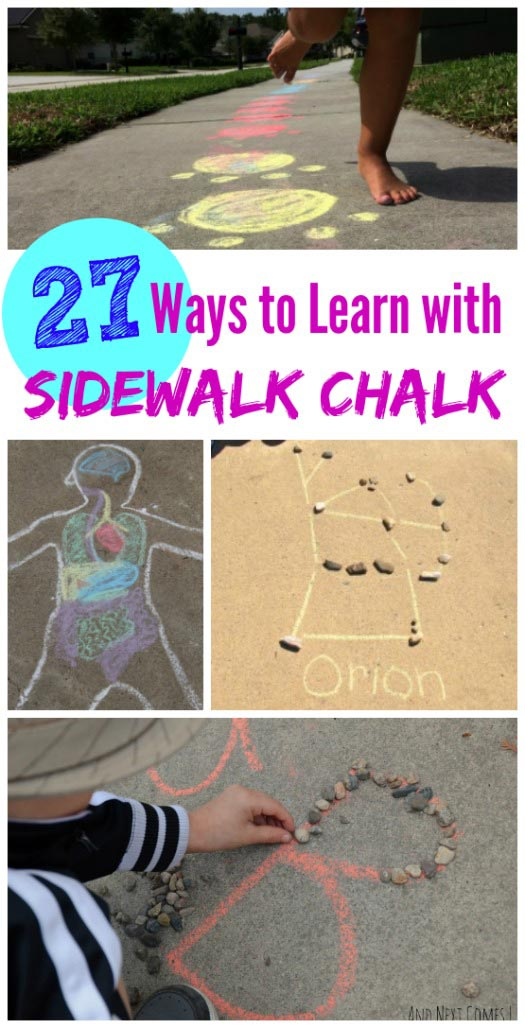 Sidewalk Chalk learning games and activities for summer