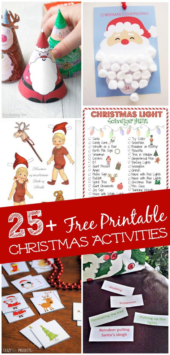 free printable Christmas activities and games for kids and families