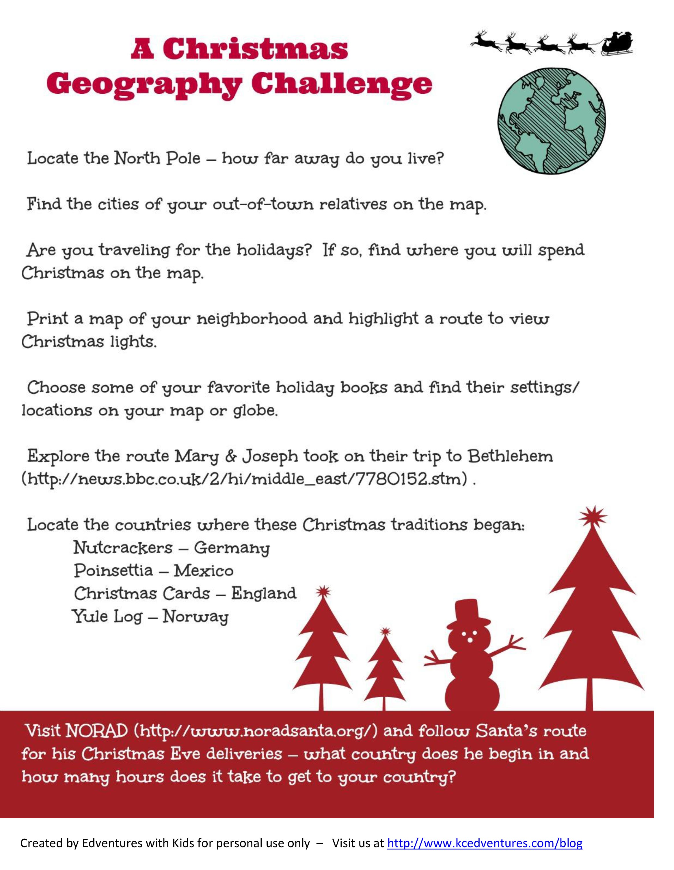 Christmas Geography Activity For Kids