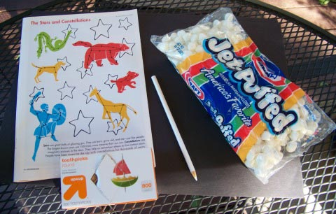 Astronomy activity for kids - marshmallow constellations