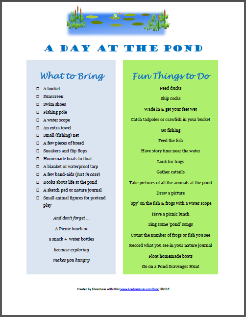water activities and things to do at the pond or lake