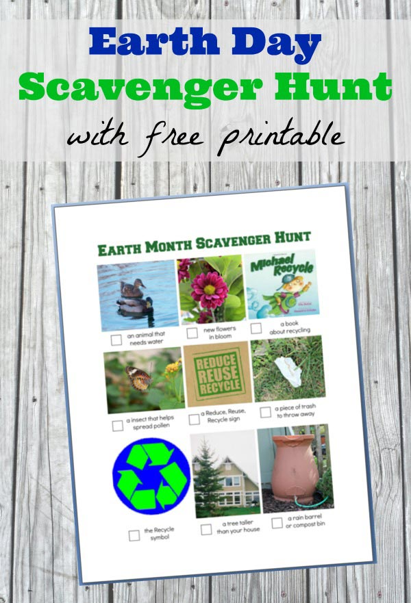 Free printable Earth Day scavenger hunt