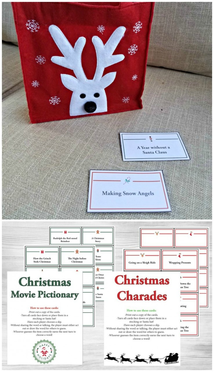 Christmas activities for kids - coupons and charades game