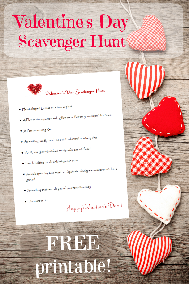 Valentine\'s Day Scavenger Hunt for Kids (free printable ...