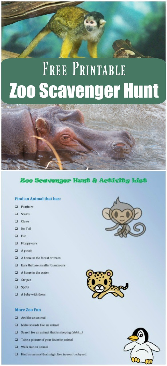 Zoo Scavenger Hunt for preschoolers and big kids with free printable checklist!
