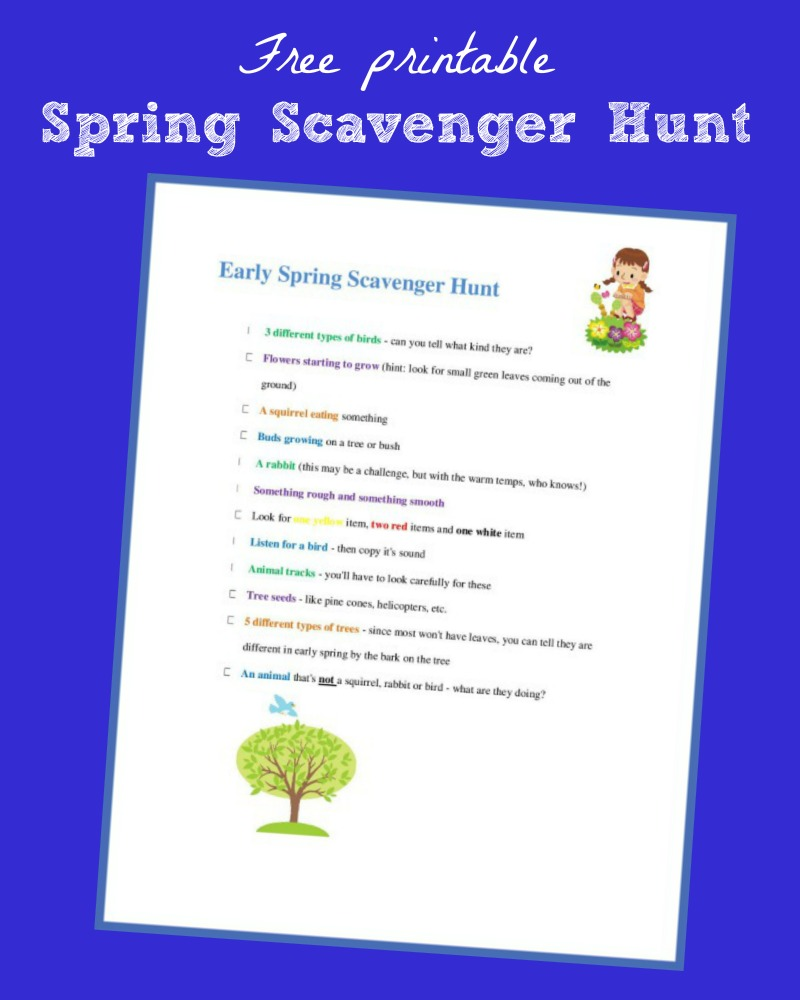 graphic about Nature Scavenger Hunt List Printable referred to as Early Spring Scavenger Hunt with cost-free printable checklist