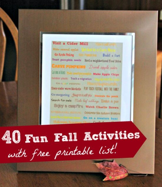 40 Things to do this Fall {Bucket List w/free printable}
