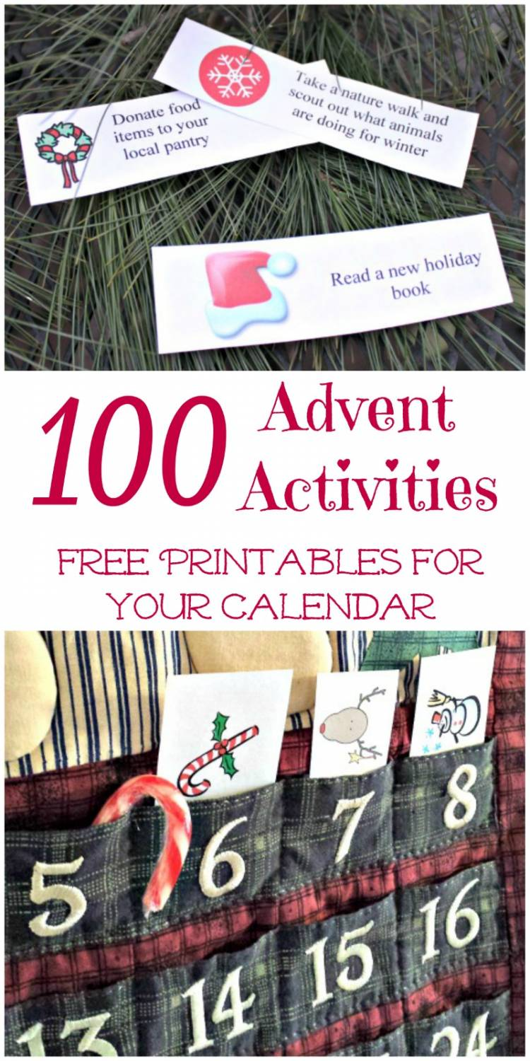 100 advent calendar ideas for kids printable