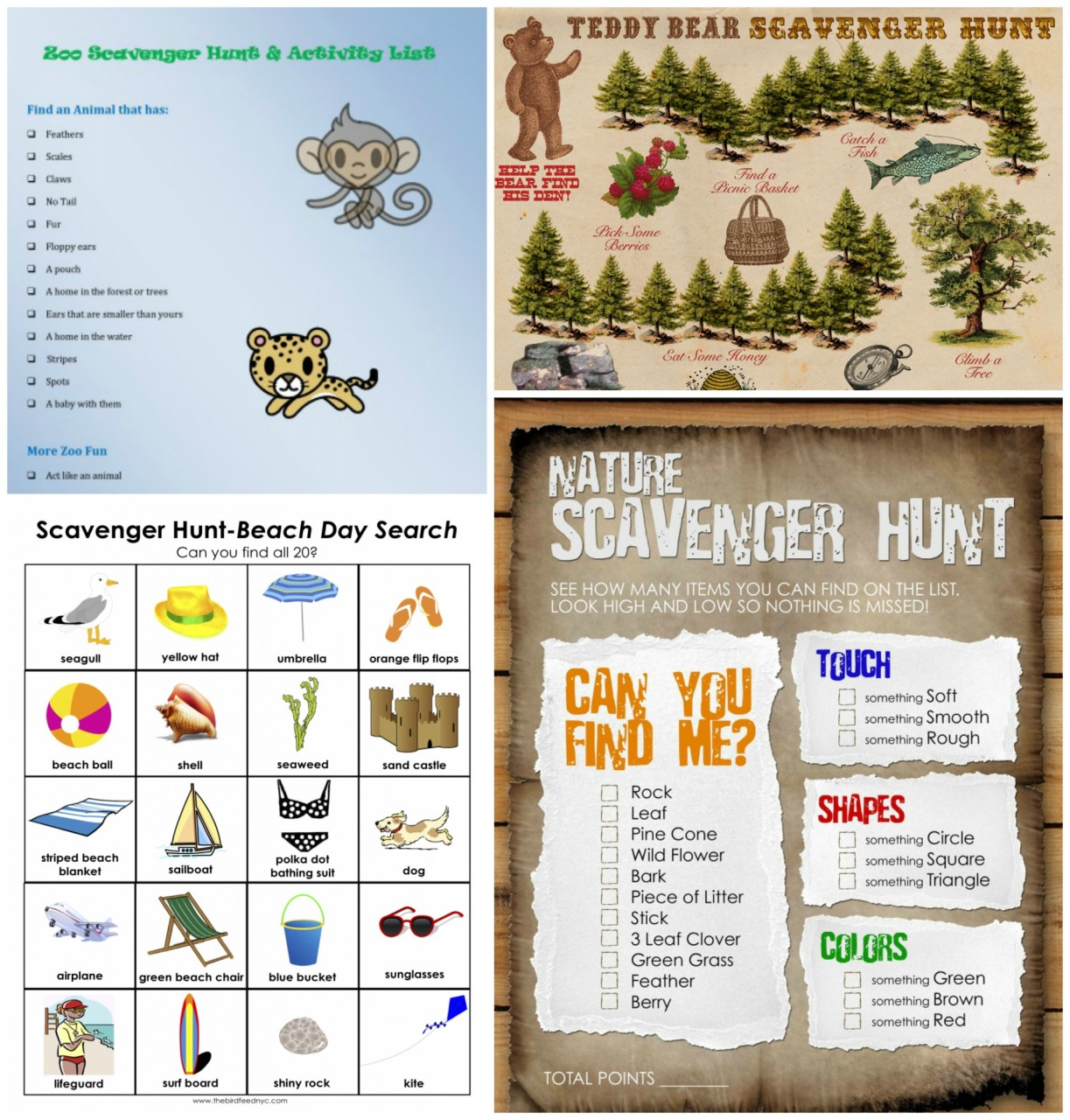 20 Printable Summer Scavenger Hunts