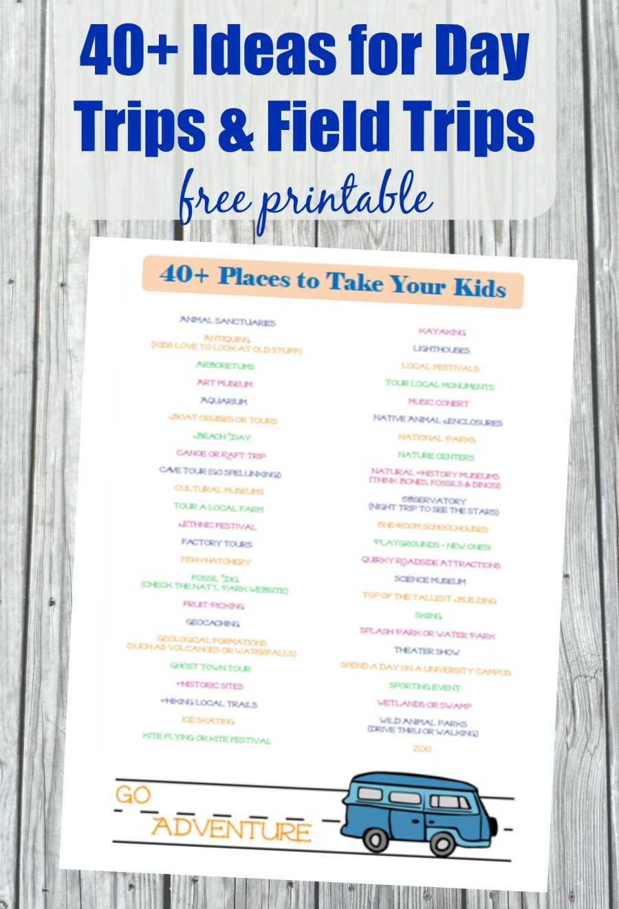 40 Fun Places to Go Near Me - free printable list of places to take kids