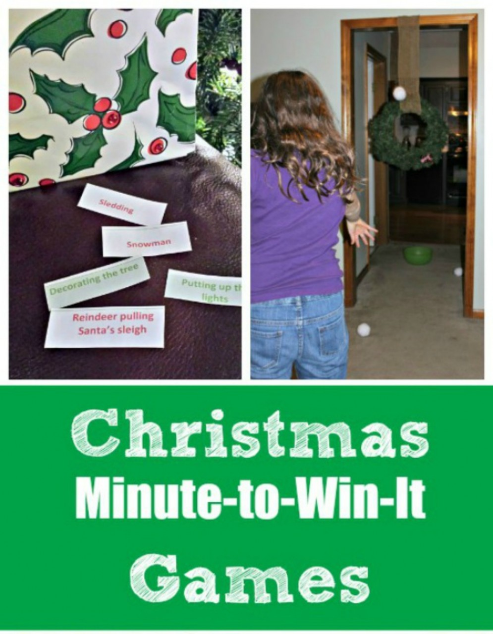 12 Christmas Minute to Win It Games for Kids and Adults
