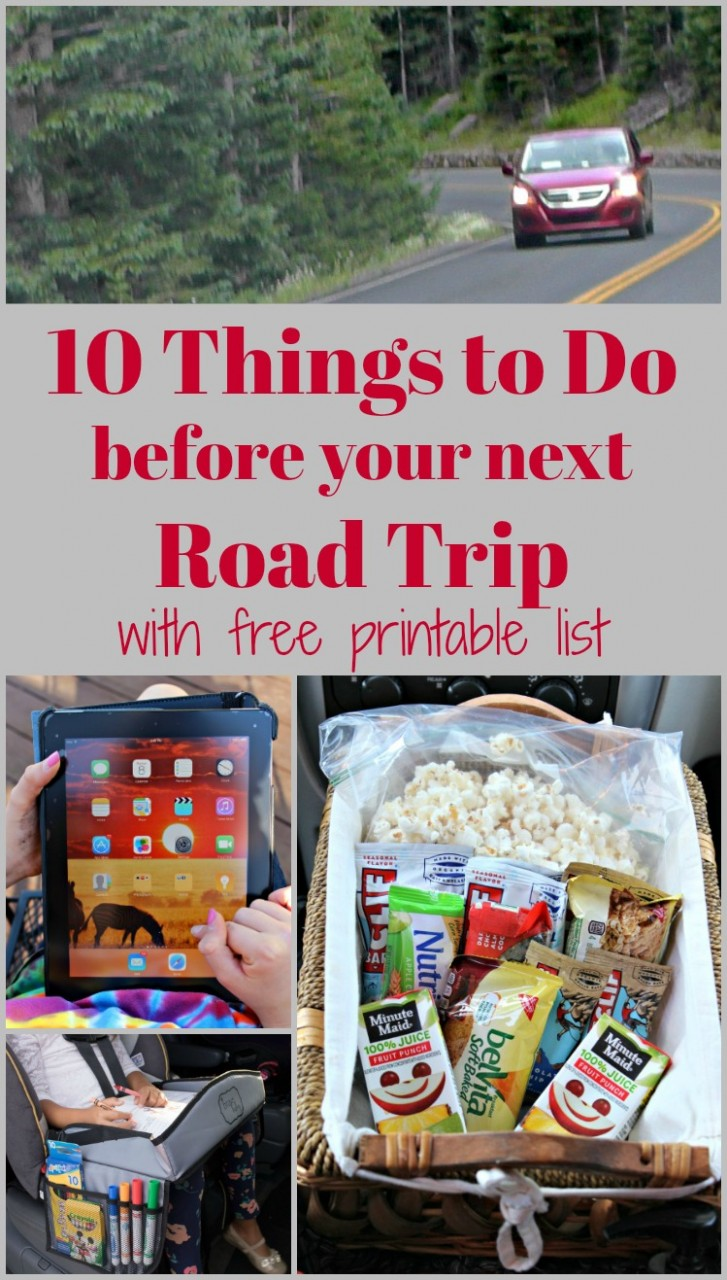 Road Trip Checklist and printable for how to organize and pack for a car trip
