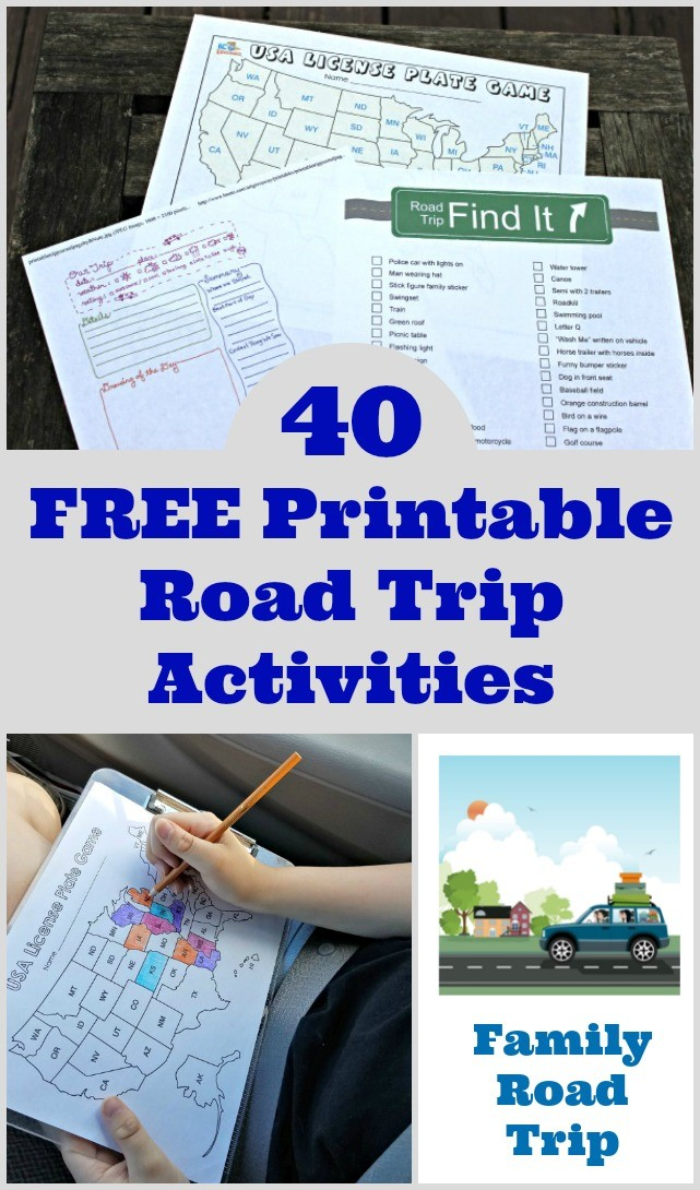 Printable road trip activities and games