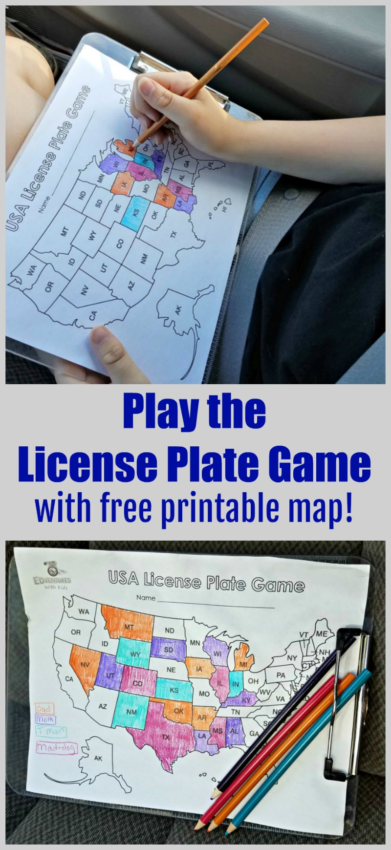 License plate game for car trip - how to play and printable US map