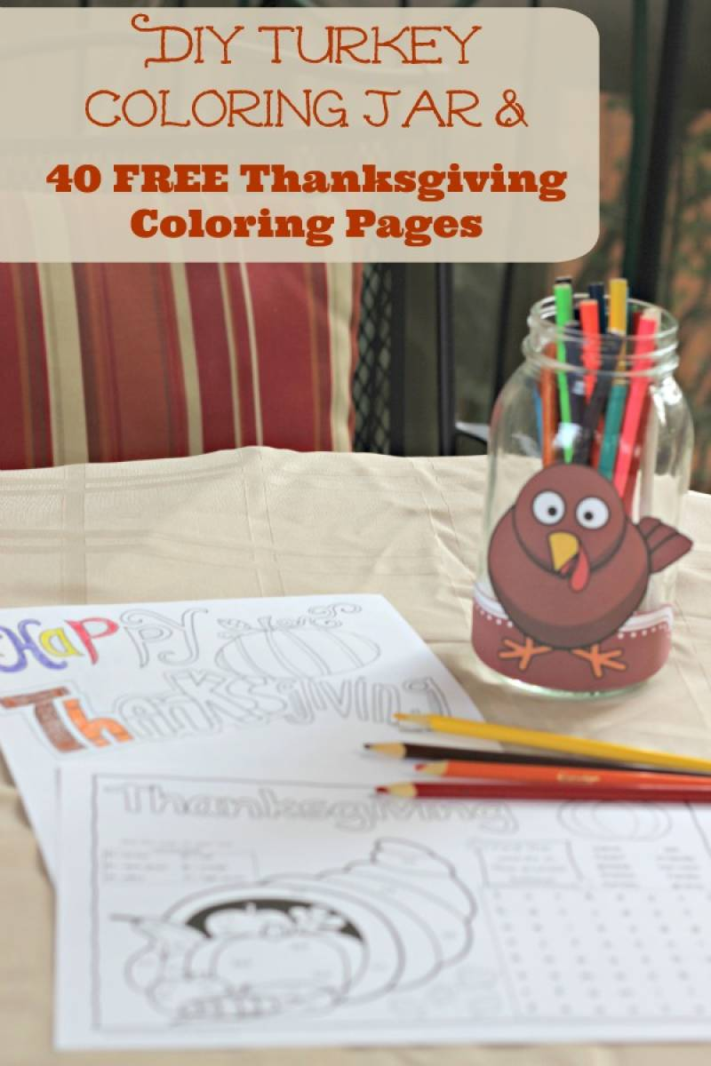 Free Thanksgiving Coloring Pages for Adults and Kids with coloring jar craft to make