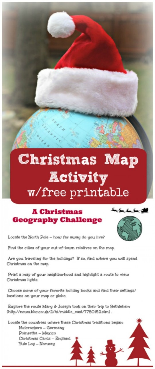 Christmas Around the World free printables Map and Geography activity