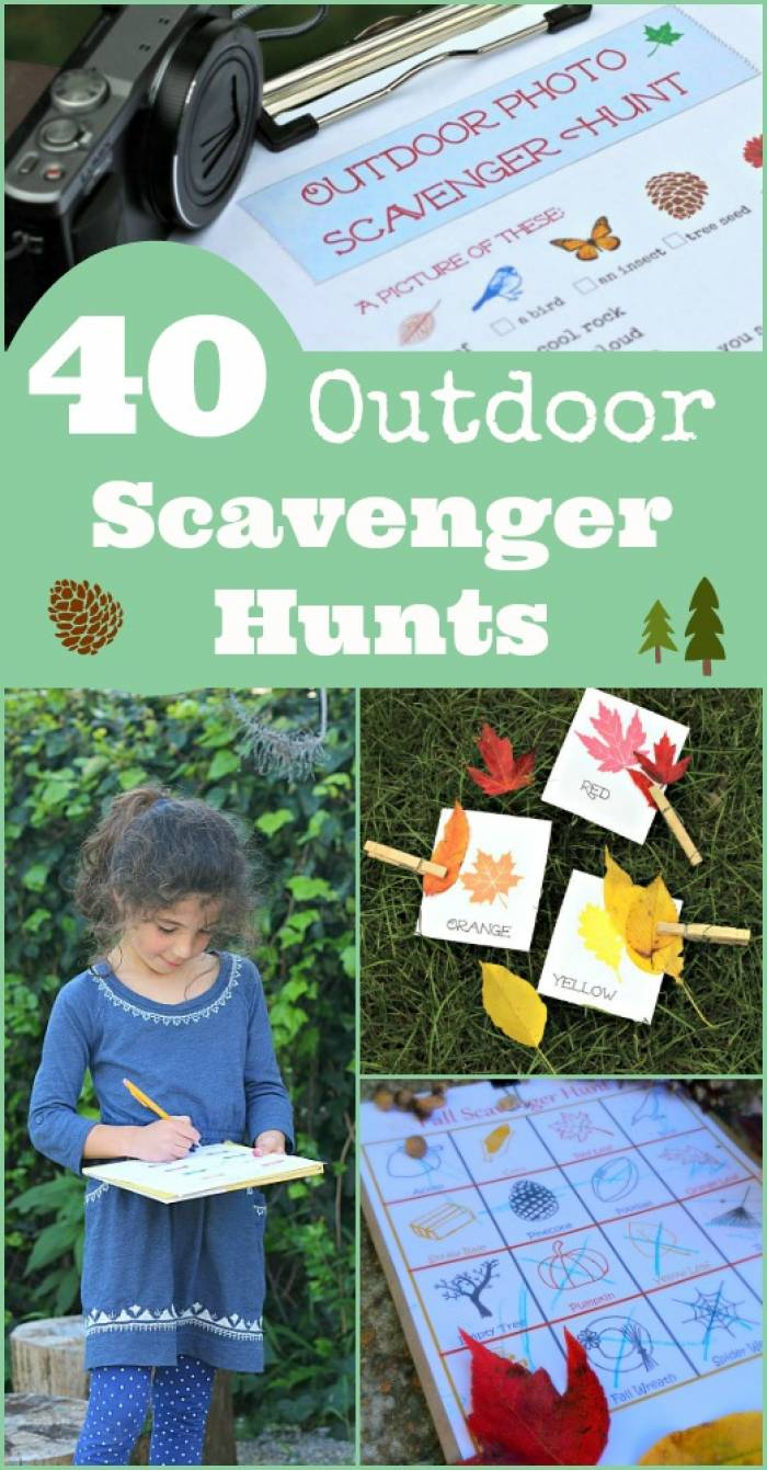 40 Outdoor Scavenger Hunts for Kids with free printables ...