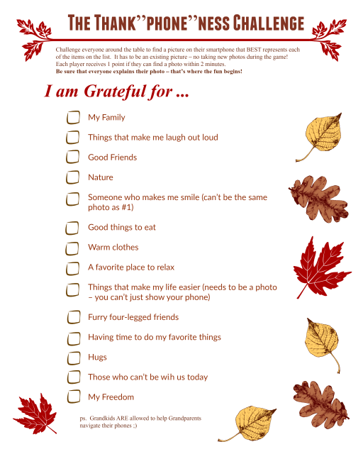 So grab the free printable Thankgiving Photo Scavenger Hunt (along ...