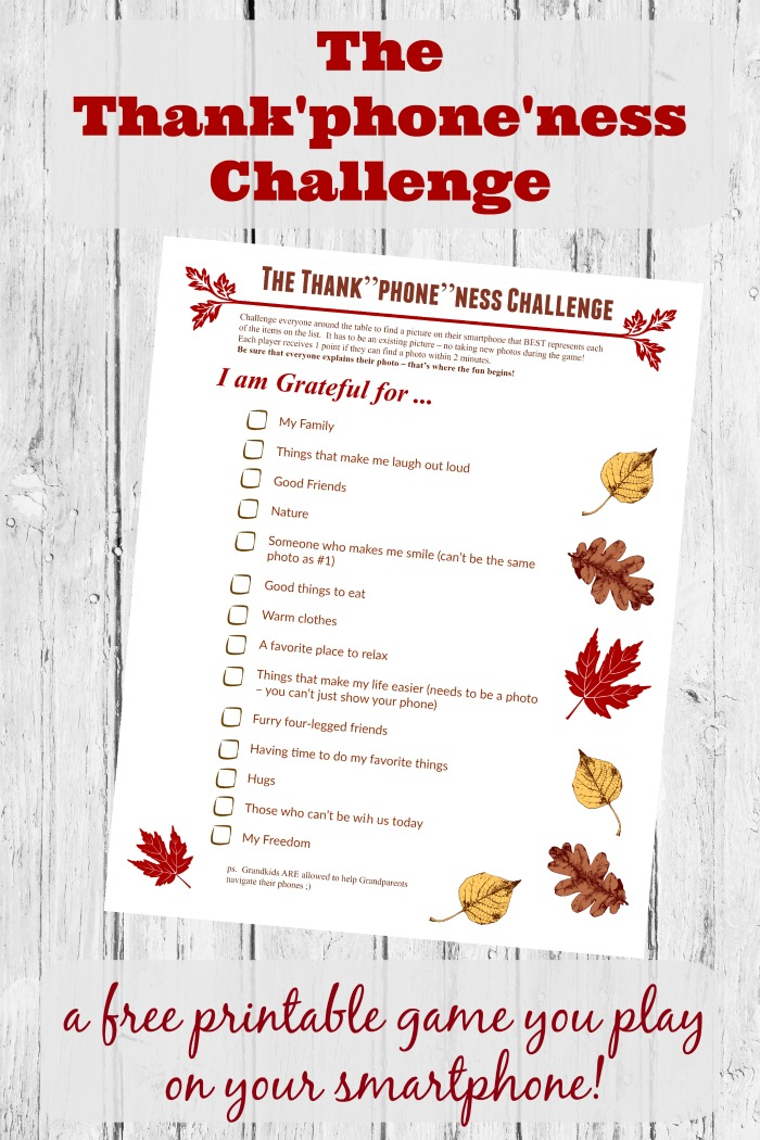 Thanksgiving Photo Scavenger Hunt Free Printable Game