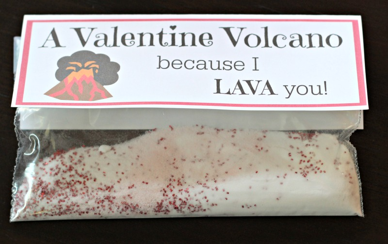 Valentine volcano - science activity and printable card for classmates!
