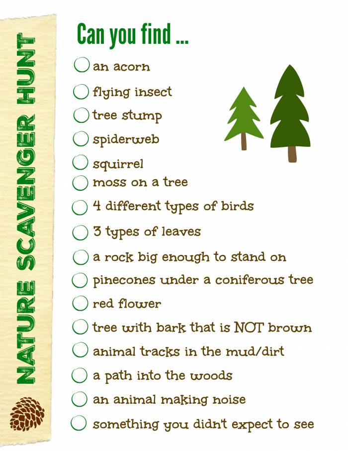 Free nature scavenger hunt for hikes, scouts and outdoor activities