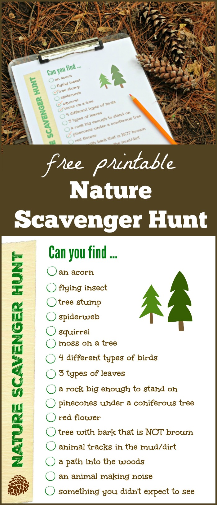 Nature Scavenger Hunt printable list for preschool, kids, tweens and families
