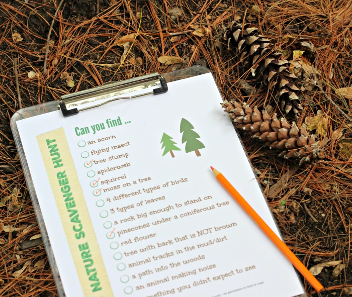 printable outdoor nature scavenger hunt for kids and teens