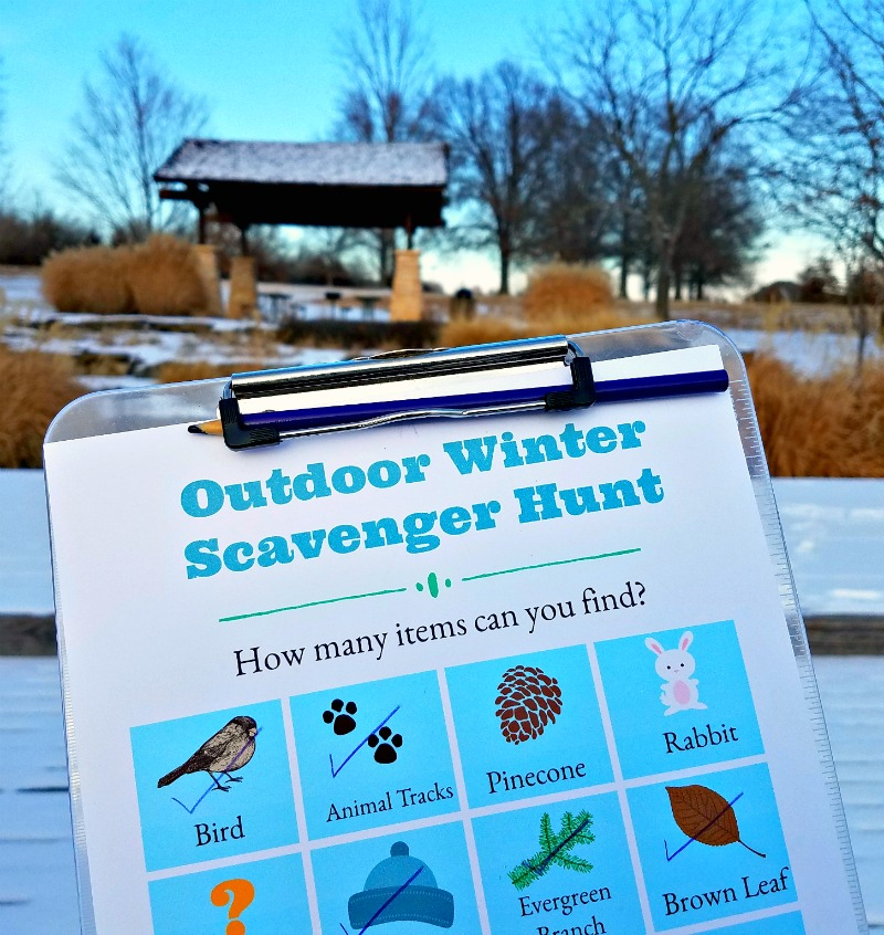 Winter nature scavenger Hunt outside items for kids to find