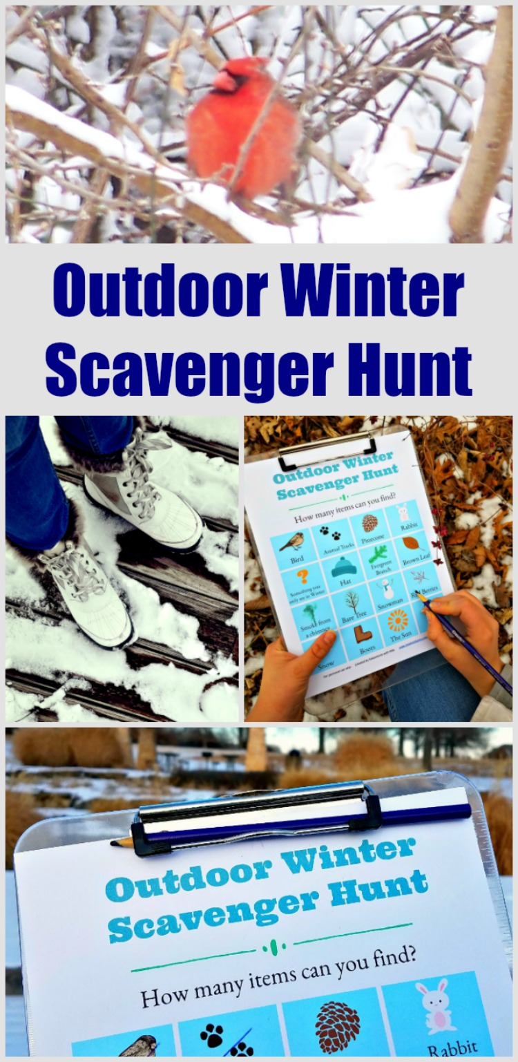 Winter Scavenger Hunt list - free printable fun outside with clues about changes in nature!