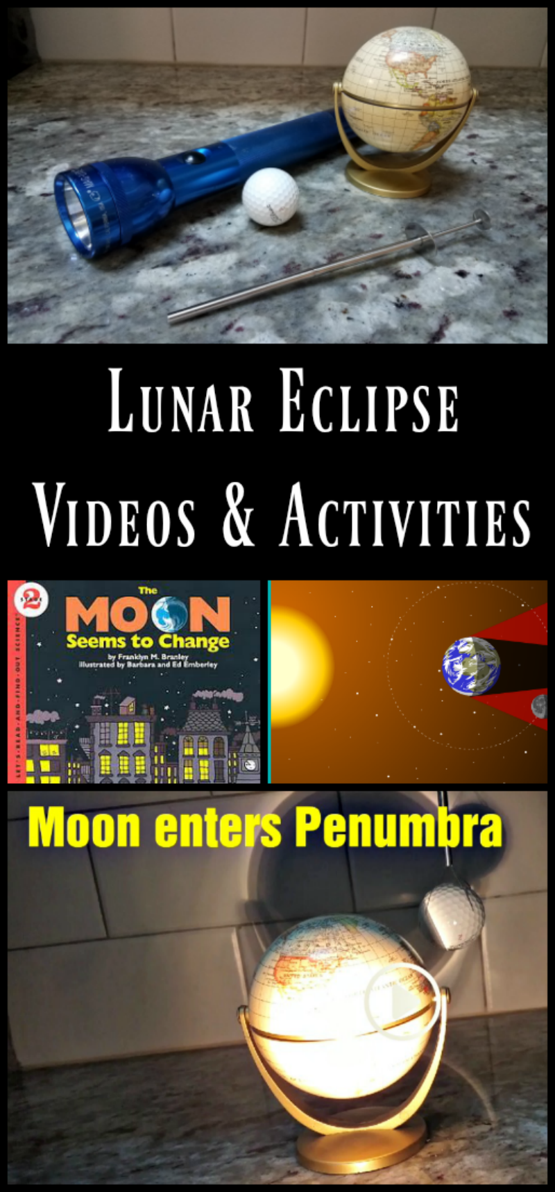 Lunar eclipse activities for kids - use with the January 2019 total lunar eclipse!