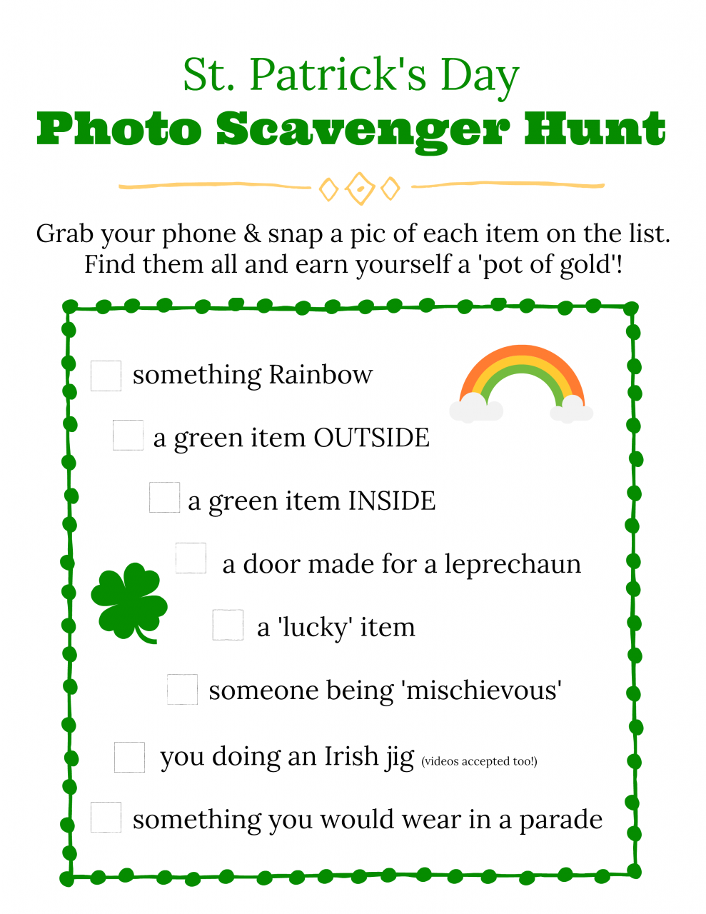 Free St Patricks Day scavenger hunt clues