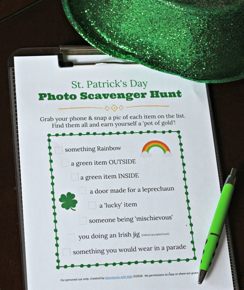 Scavenger hunt activity for kids on St Patrck's Day