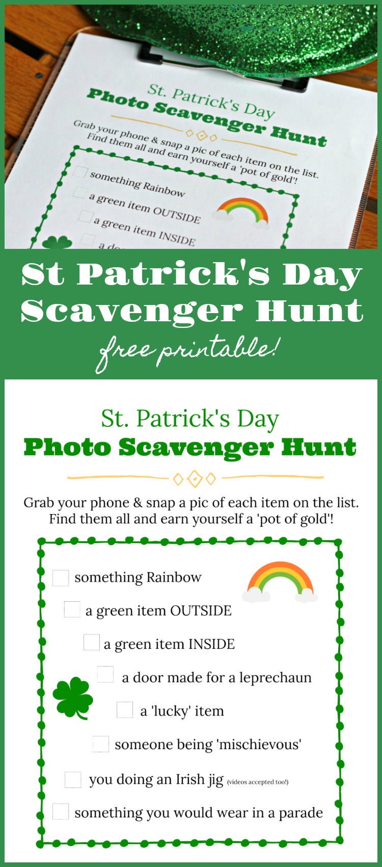 St Patrick's Day printable photo scavenger hunt list