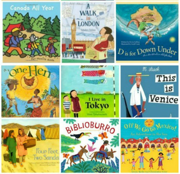Books for kids - around the world theme for preschool, kindergarten and elementary