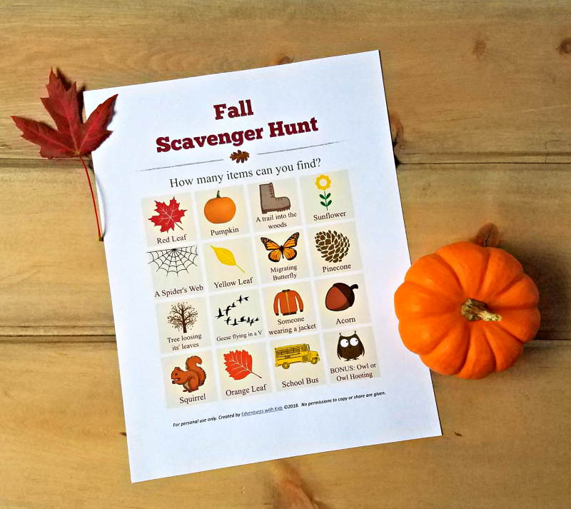Fall Scavenger Hunt printable for kids, tweens, teens or adults - fun family challenge too!