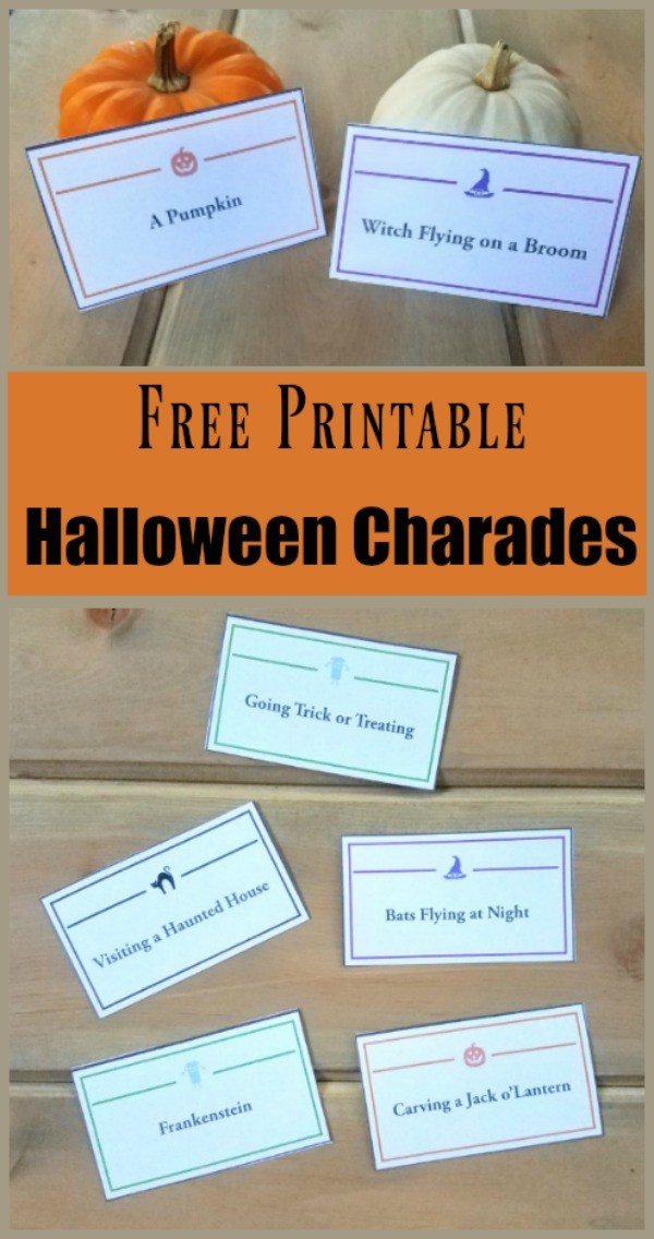 Halloween Charades game with printable cards and word list
