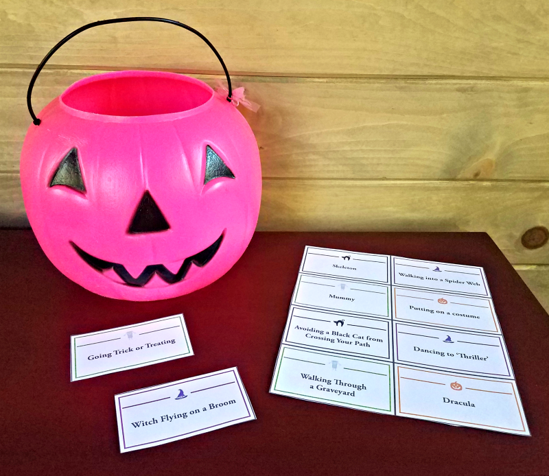 Halloween charades game with word list and printable clues