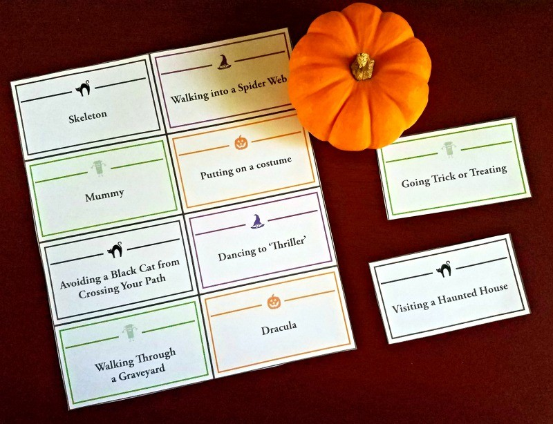 picture relating to Halloween Charades Printable named Halloween Charades Match: Playing cards Term Record - Edventures with