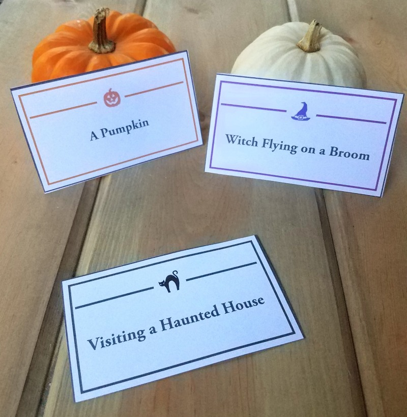 photo about Halloween Charades Printable called Halloween Charades Activity: Playing cards Phrase Listing - Edventures with