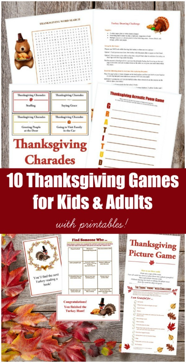 Printable Thanksgiving Games for Adults, Kids and Teens