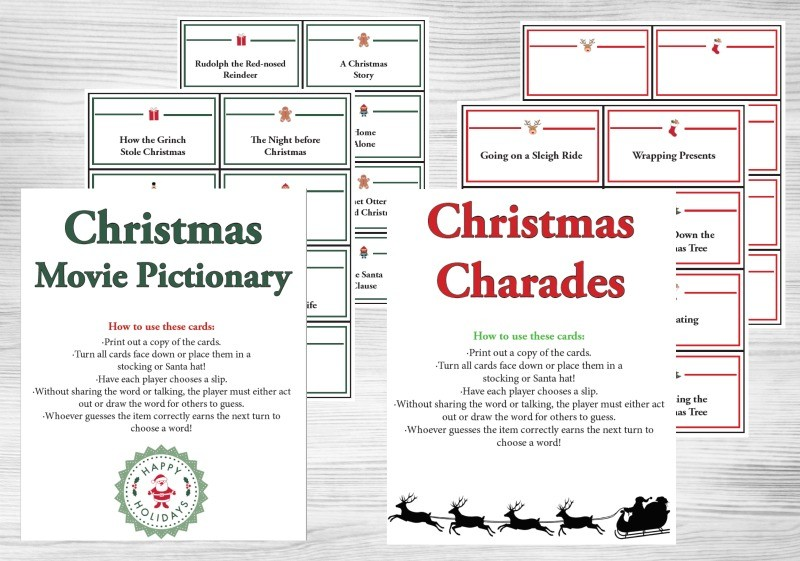 Christmas Charades.Holiday Charades Games And Pictionary Words Printable Cards