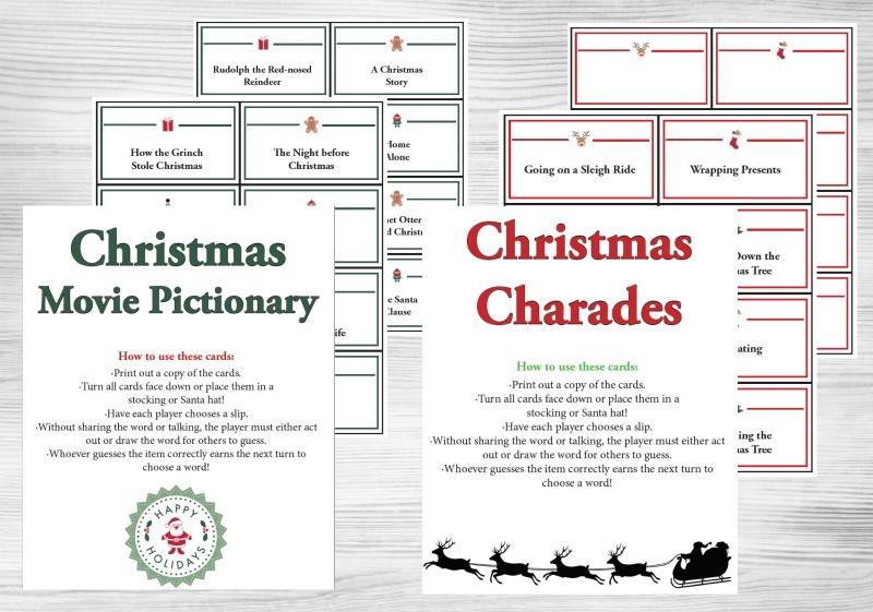 Christmas Pictionary Words \u0026 Charades Game (printable cards